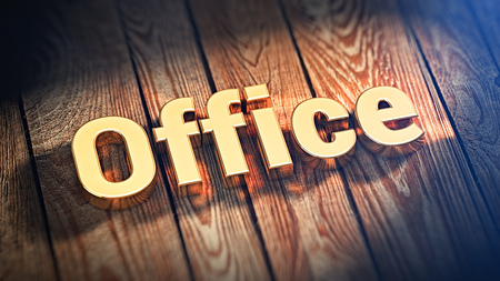 office cubicle: The word Office is lined with gold letters on wooden planks. 3D illustration image