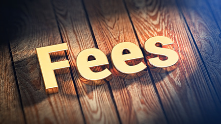 The word Fees is lined with gold letters on wooden planks. 3D illustration image Stock Photo