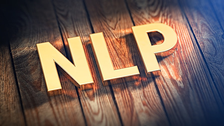 """The acronym """"NLP"""" is lined with gold letters on wooden planks. 3D illustration image Stock Photo"""