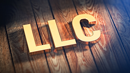 incorporation: The acronym LLC is lined with gold letters on wooden planks. 3D illustration image