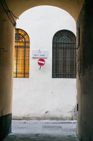 do not enter: Traffic sign Do not enter on the narrow street in historical center of Florence,Italy