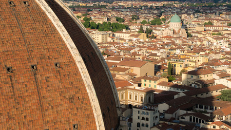 Brunelleschi's Dome - the largest cupola in the world, Florence, Italy. View from the top. Stock Photo
