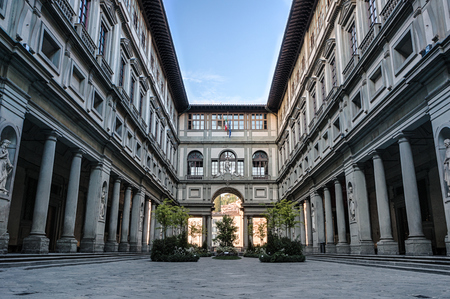 Florence, Italy - Aipril 29, 2016: Uffizi gallery in Florence, Italy. It is one of the oldest and most famous art museums of Europe.