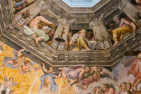 Florence, Italy - May 4, 2016: The Last Judgement by Giorgio Vasari and Federico Zuccari, detail from the cupola of the Duomo, Florence, Italy