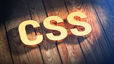 css: The acronym CSS is lined with gold letters on wooden planks. 3D illustration image