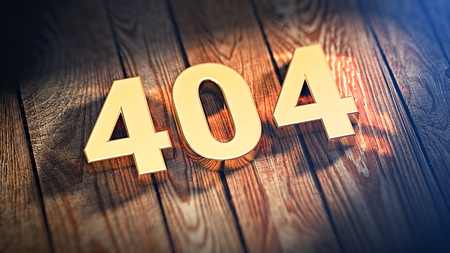 find fault: The digits 404 is lined with gold letters on wooden planks. 3D illustration image