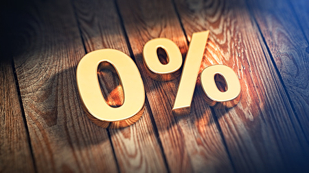 The digits 0% is lined with gold letters on wooden planks. 3D illustration image Stock Photo