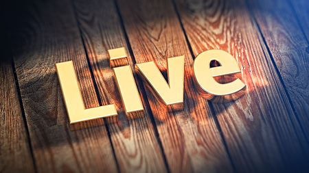 live stream sign: The word Live is lined with gold letters on wooden planks. 3D illustration image