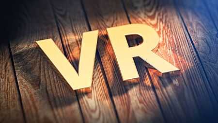 simulate: The acronym VR is lined with gold letters on wooden planks. 3D illustration image