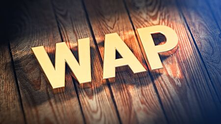 wap: The acronym WAP is lined with gold letters on wooden planks. 3D illustration image Stock Photo