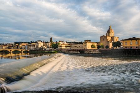 Santa Rosa dam via Arno river and San Frediano church in Florence, Italy Stock Photo
