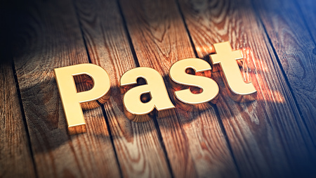bygone days: The word Past is lined with gold letters on wooden planks. 3D illustration image