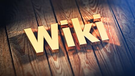 wiki wikipedia: The word Wiki is lined with gold letters on wooden planks. 3D illustration image Stock Photo