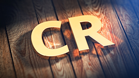 cpa: The acronym CR is lined with gold letters on wooden planks. 3D illustration image