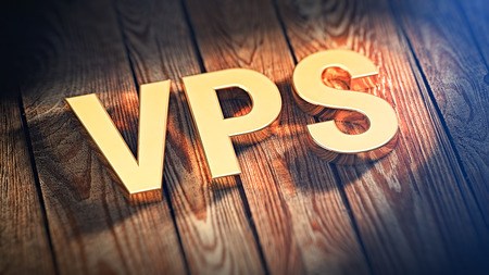 The acronym VPS is lined with gold letters on wooden planks. 3D illustration image