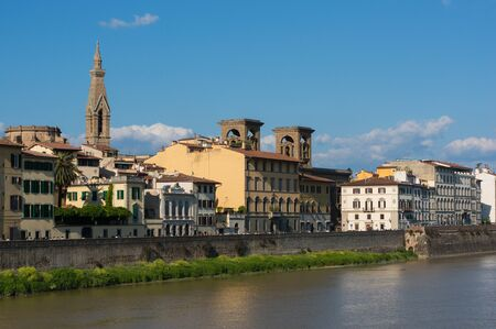 belltower: Embankment of river Arno, view to National Library and Santa Croce belltower, Florence, Italy