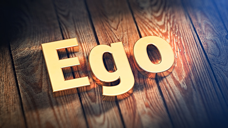 ego: The word Ego is lined with gold letters on wooden planks. 3D illustration image