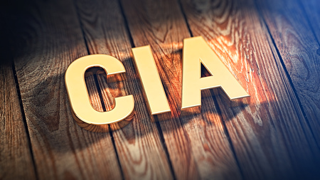 CIA: The acronym CIA is lined with gold letters on wooden planks. 3D illustration image