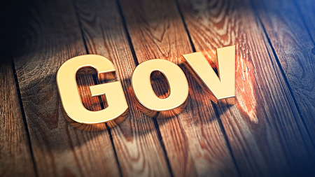 gov: The word Gov is lined with gold letters on wooden planks. 3D illustration image