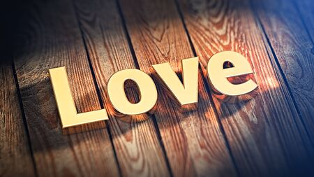 leidenschaft: The word Love is lined with gold letters on wooden planks. 3D illustration image