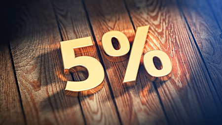 discounting: The digits 5% is lined with gold letters on wooden planks. 3D illustration image Stock Photo