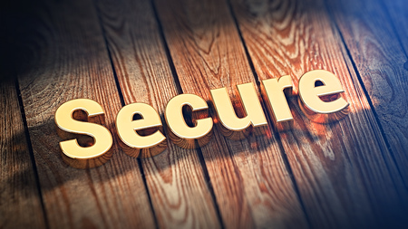 jpeg: The word Secure is lined with gold letters on wooden planks. 3D illustration jpeg Stock Photo