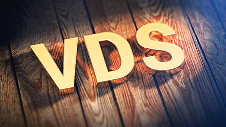 The acronym VDS is lined with gold letters on wooden planks. 3D illustration image