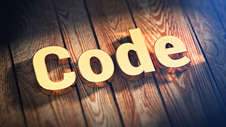 compiler: The word Code is lined with gold letters on wooden planks. 3D illustration image