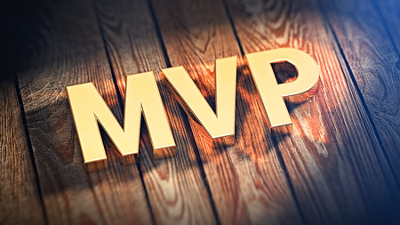 viable: The acronym MVP is lined with gold letters on wooden planks. 3D illustration image