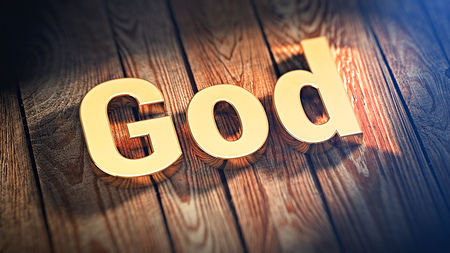 god 3d: The word God is lined with gold letters on wooden planks. 3D illustration image