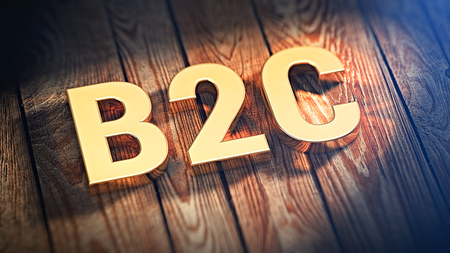 end user: The acronym B2C is lined with gold letters on wooden planks. 3D illustration image Stock Photo