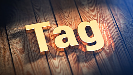docket: The word Tag is lined with gold letters on wooden planks. 3D illustration image