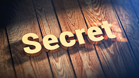puzzlement: The word Secret is lined with gold letters on wooden planks. 3D illustration image