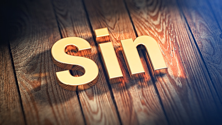 sin: The word Sin is lined with gold letters on wooden planks. 3D illustration image