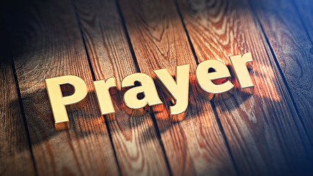 orison: The word Prayer is lined with gold letters on wooden planks. 3D illustration image