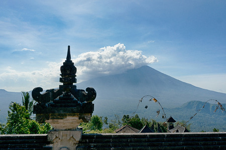 Great view on the stratovolcano Gunung Agung from the wall of the balinese temple Pura Luhur Lempuyang, Bali, Indonesia