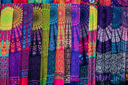 Traditional balinese sarongs on the Ubud art market, Bali, Indonesia Stock Photo