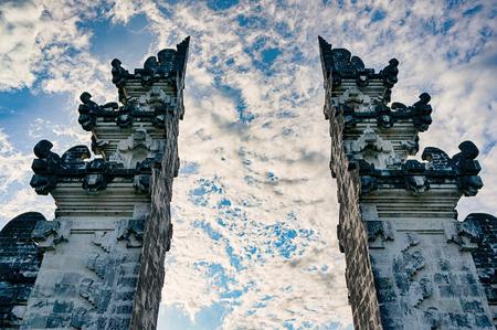 Split gates of Pura Lempuyang temple against cloudy blue sky, Bali, Indonesia Stock Photo
