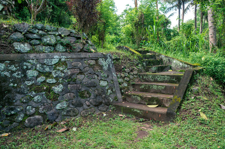 Stone steps leading to the tropical park, Bali, Indonesia