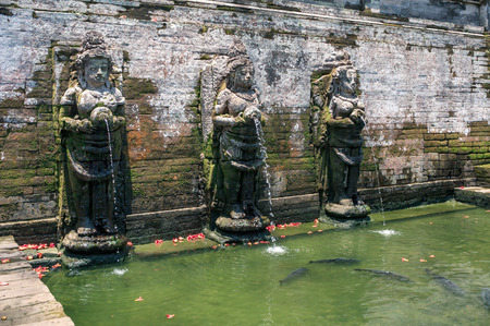 Holy springs in Goa Gajah temple near Ubud, Bali, Indonesia