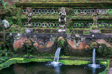 The streams of water are flowing into the pool of Sebatu Gunung Kawi holy springs, Bali, Indonesia