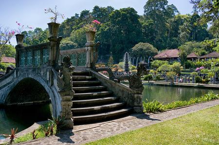Tropical park around the pond in Tirta Gangga complex, Bali, Indonesia Фото со стока