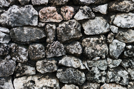 The wall made from rough grey cobblestones