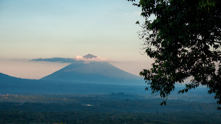 Beautiful balinese landscape - majestic volcano Agung in sunset sky, Bali, Indonesia
