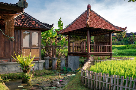 Garden around balinese house with wooden gasebo with red tiled roof. Gazebo is a asian popular pavilion structure for relaxation.