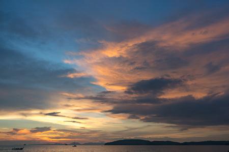 Amazing sunset sky on Ao Nang beach in Krabi province, Thailand