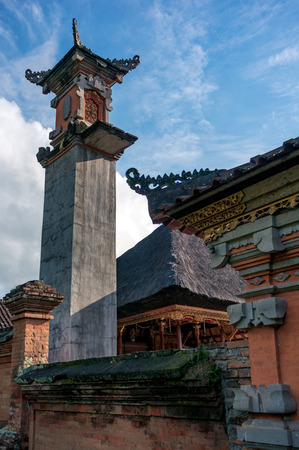 Construction of a new cement tower in balinese temple in Ubud town, Bali, Indonesia