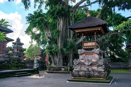 Altar with black coconut roof in the empty courtyard of balinese temple with banyan tree, Ubud town, Bali, Indonesia