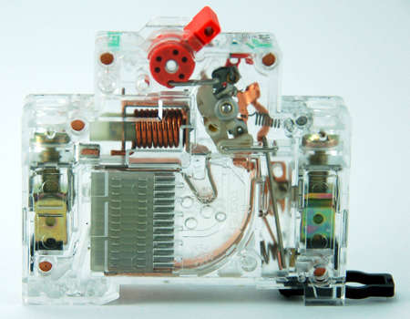 tripping: a transparent circuit breaker showing the internal componets