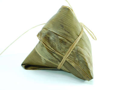 amongst: sticky rice pocket with spice and meat in bamboo leaf. a popular dish amongst chinese Stock Photo